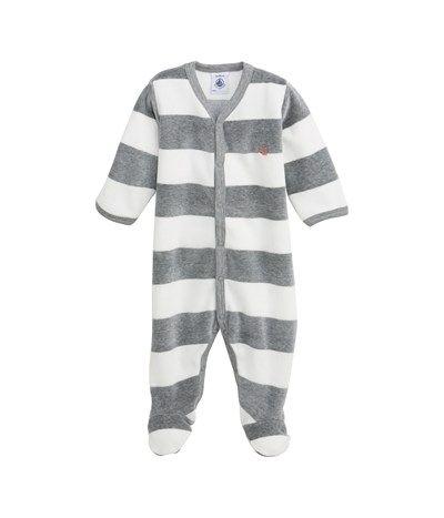 d9a414e962d1a Dors bien bébé garçon en velours à large rayure gris Subway   blanc Lait -  Petit Bateau