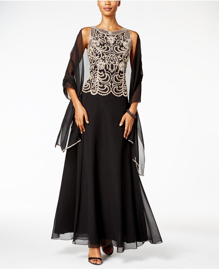 J Kara Beaded A-Line Gown and Scarf | Pinterest | Kara, Gowns and ...