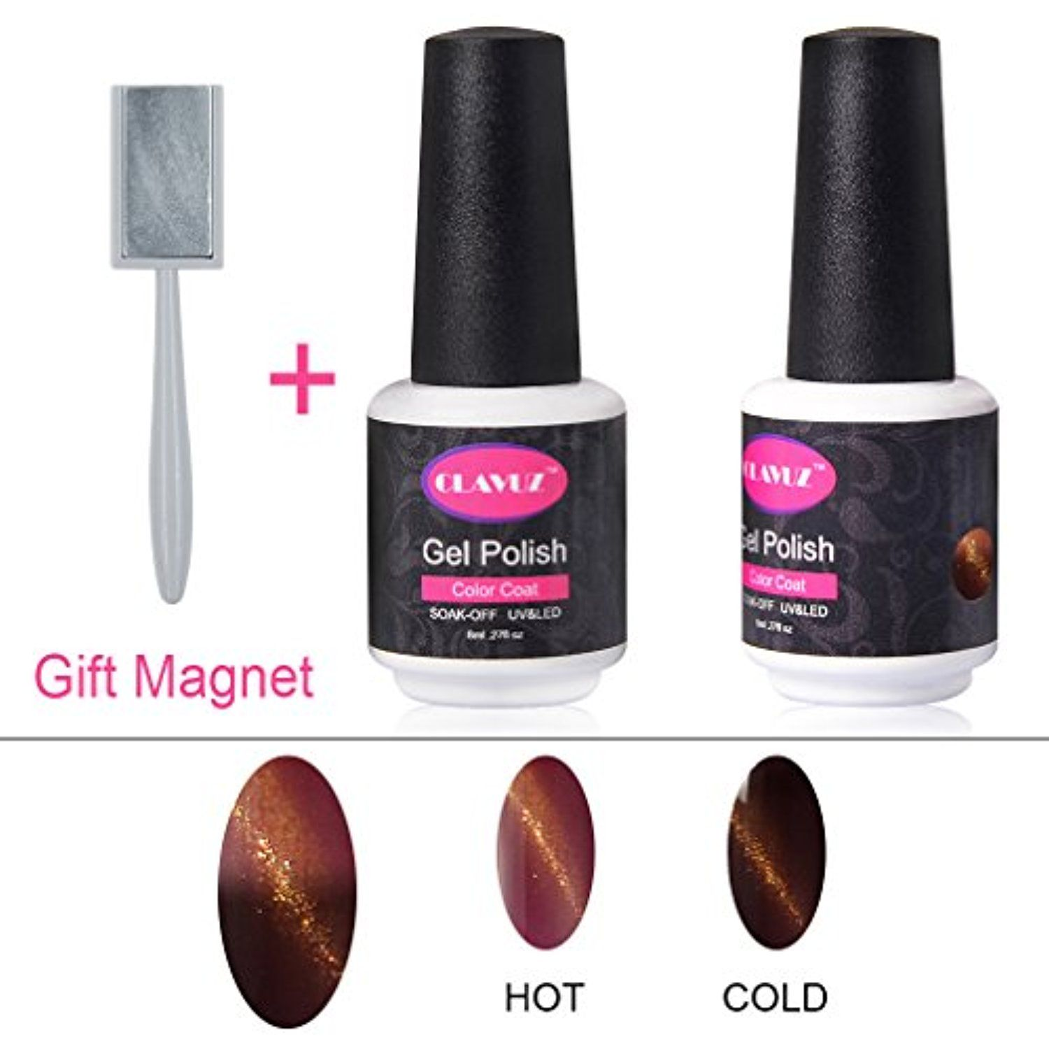 CLAVUZ Magnetic Color Change Gel Nail Polish 3D Cat Eye Lacquers ...