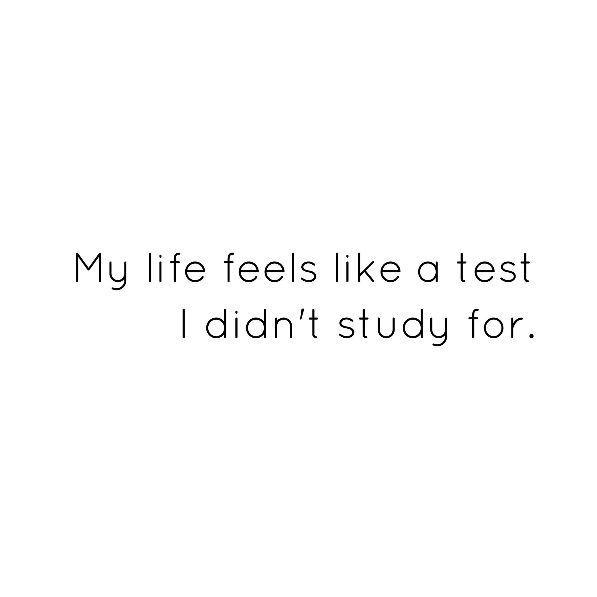 My Life Feels Like A Test I Didn T Study For Stress Life Live