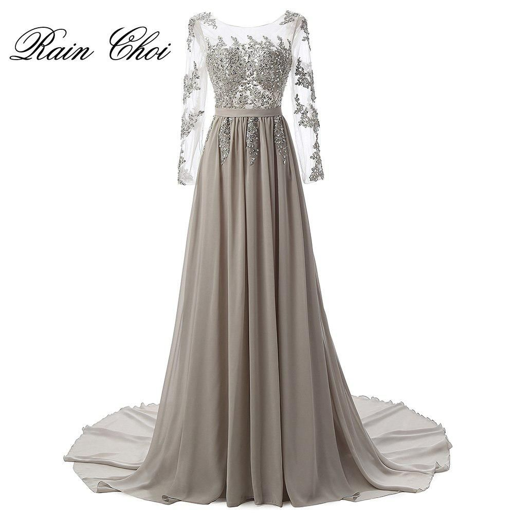Long sleeves evening dresses sexy long formal gowns elegant