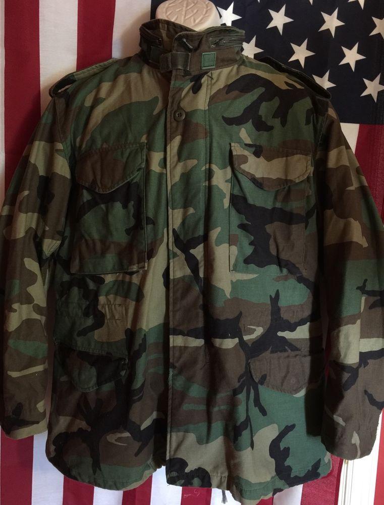 4324f269658 USGI Woodland Camo BDU M65 Cold Weather Coat Medium Regular | eBay ...