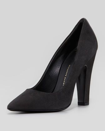 Giuseppe Zanotti Suede Pointed-Toe Thick-Heel Pump, Black - Neiman Marcus - love these!!