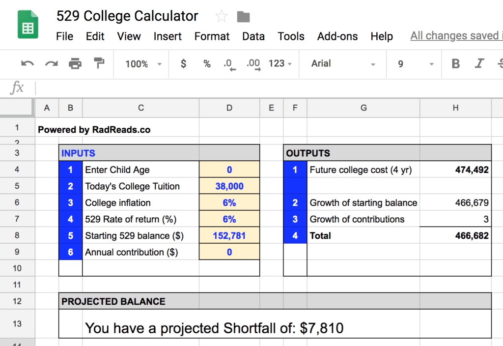 529 Calculator In Google Sheets Saving For College College Costs College Tuition