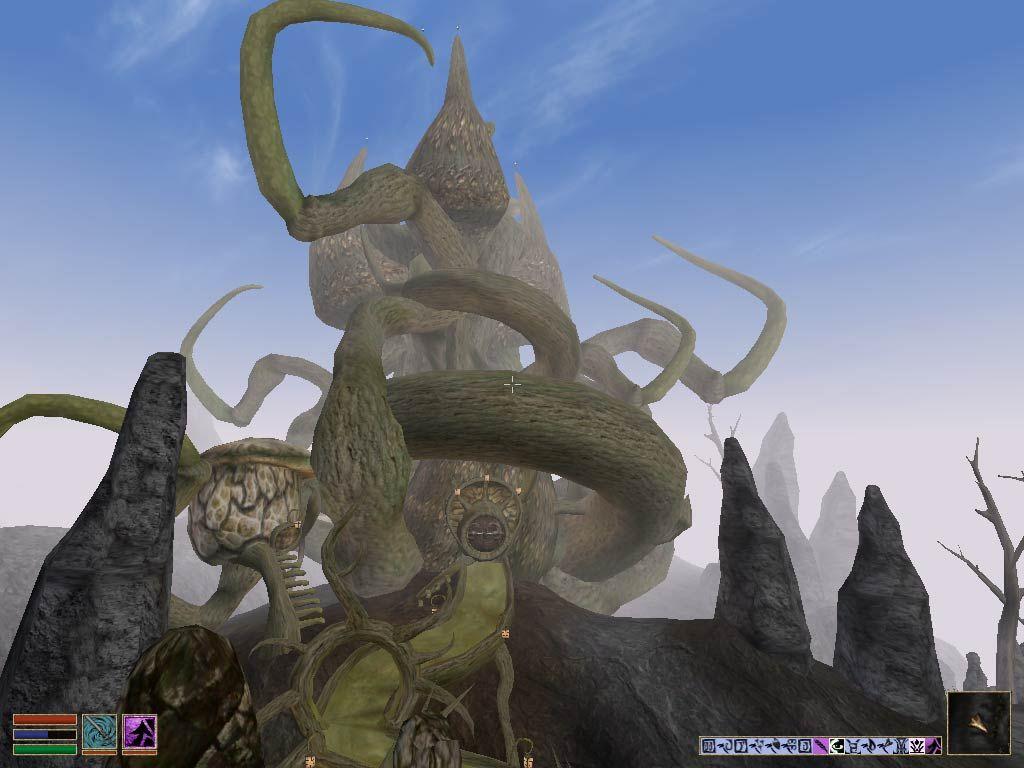 Morrowind. La arquitectura de los Telvani, una de las Grandes Casas del juego, junto a los Hlaalu y los Redoran, es muy orgánica y característica, semejando a grandes plantas convertidas en habitáculos.