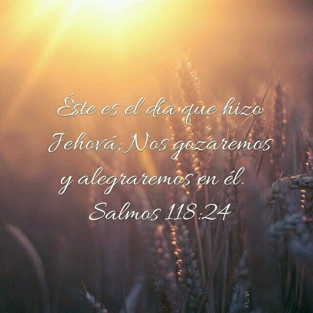 Salmos 118:24 RVR1960 Éste es el día que hizo Jehová; Nos gozaremos y alegraremos en él.