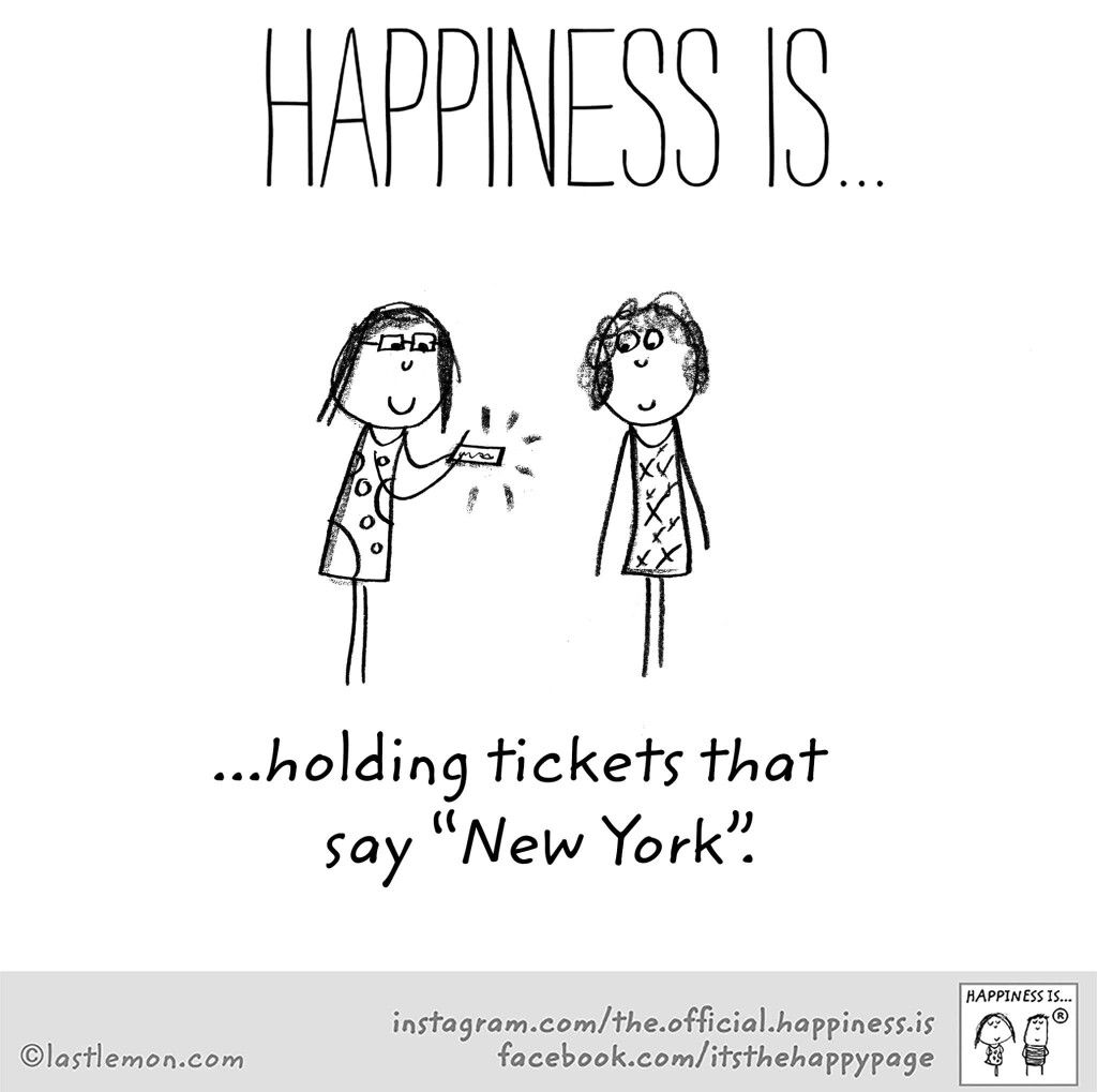 Happiness is holing tickets that say New York in 2019