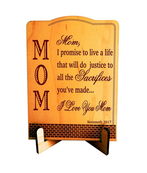 Gift To Mom Moms Plaque Birthday Son