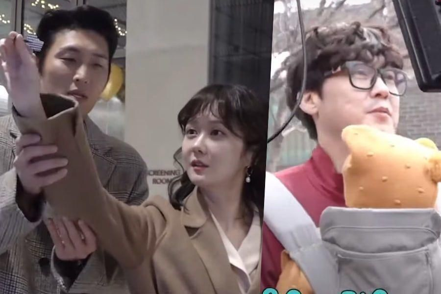 """Watch: Jang Nara And Go Joon Show Off Their Chemistry + Park Byung Eun Soothes Baby Behind The Scenes Of """"Oh My Baby"""""""