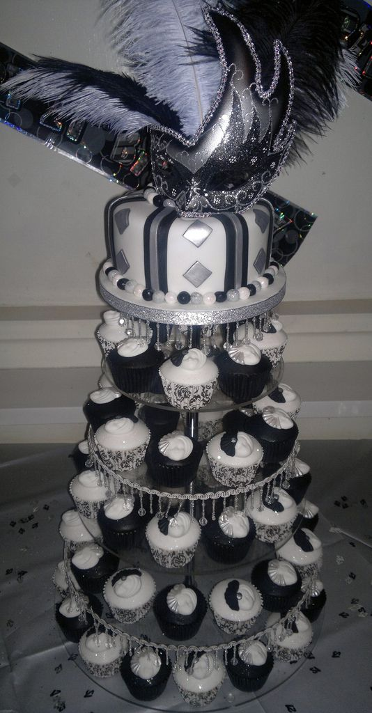 Black white and silver Masquerade 21st birthday cake and cupcakes