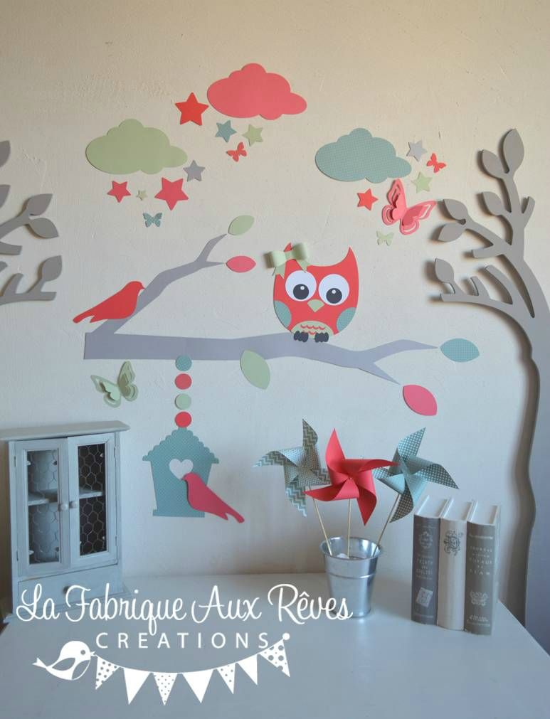 Stickers d coration chambre enfant fille b b branche cage for Decoration chambre de bebe fille