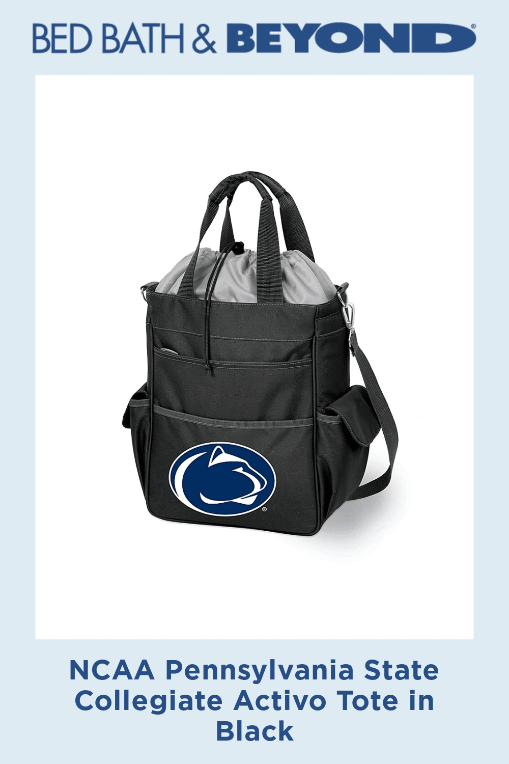 NCAA Pennsylvania State Collegiate Activo Tote in Black - NCAA Activo Totes are waterproof and feature a fully insulated compartment to provide plenty of room for food and drinks. Activo totes are ideal for the beach, sporting events, or long trips in the car.