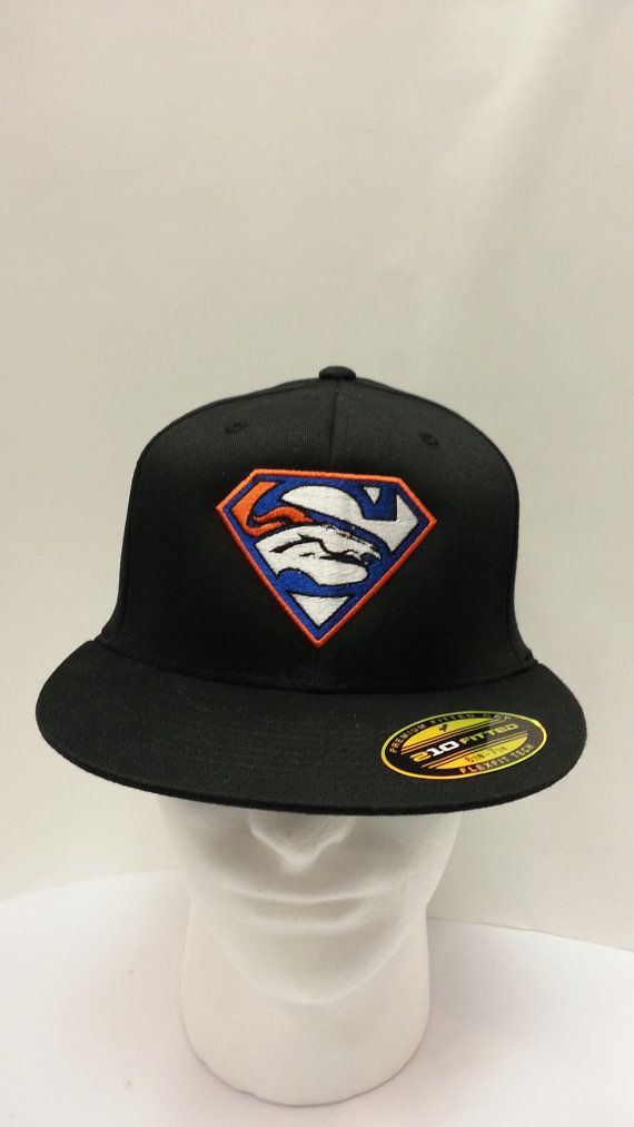 75f0075e1 Denver Broncos Superman Super Bowl logo embroidered on fitted flat bill hat  Free Shipping