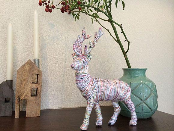 Diy herten rendier knutselen kerst kerstdagen maken kinderen peuters kleuters touw - Ideeen deco blijven ...