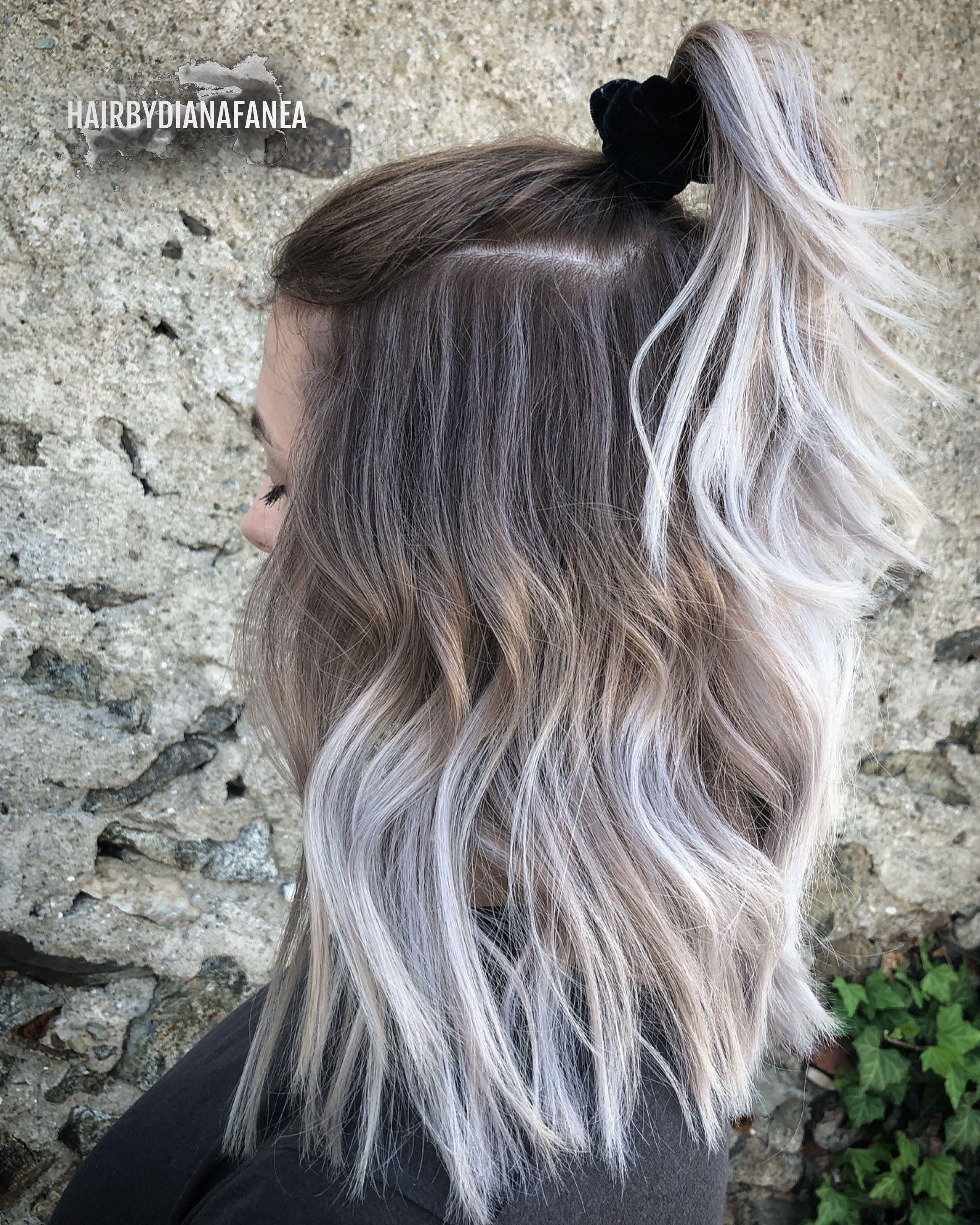 Scrunchie 90s Fashion Balayage Icy Blonde Silver Hair Platinum Blonde Silver Hair Hair Silver Blonde