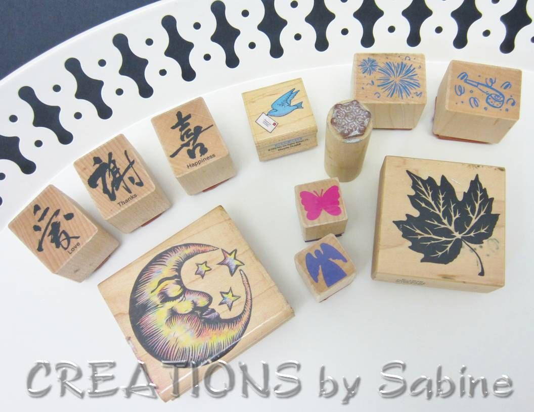 Rubber Stamps Mixed Lot Of 11 Symbols Love Thanks Happiness Bird