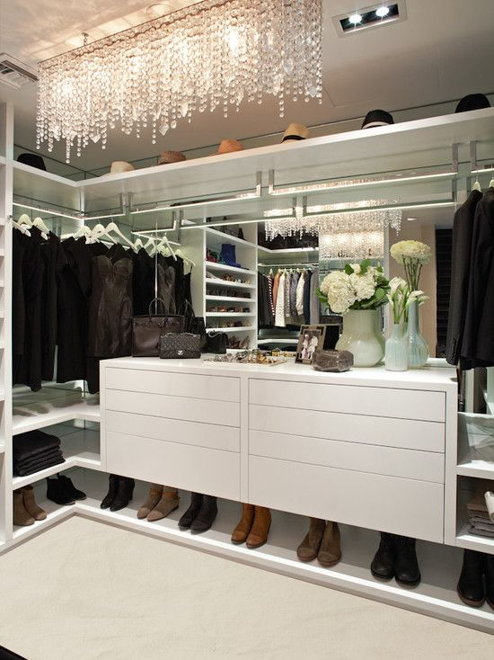 Dreamy, Contemporary Style Closet With Floating White Chest Of Drawers,  Mirrored Back, Floating