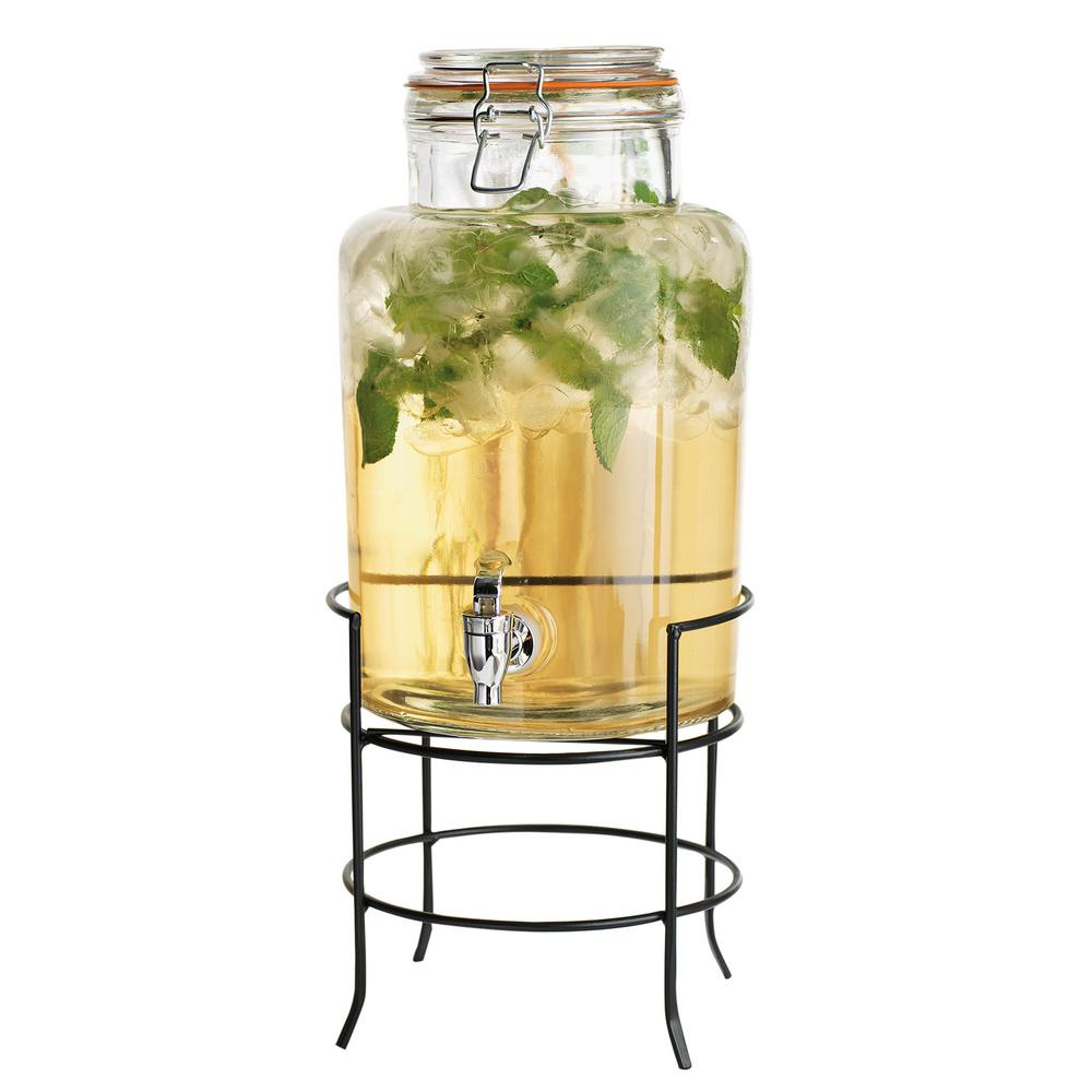 Home Essentials And Beyond 1 5 Gal Glass Drink Dispenser On Stand 6478 The Home Depot Mason Jar Drink Dispenser Glass Beverage Dispenser Drink Dispenser Glass water dispenser with stand
