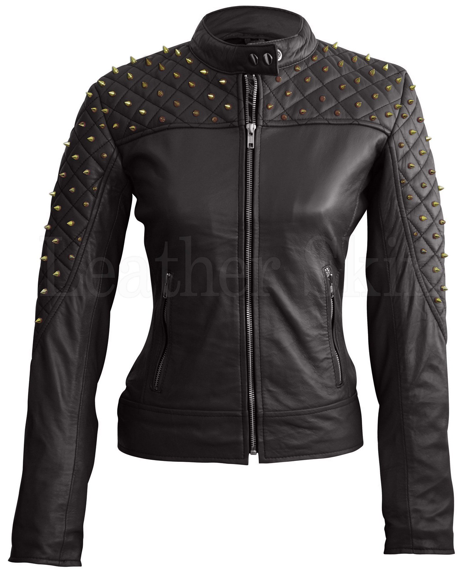 Leather Skin Women Black Shoulder Quilted With Gold Studs Studded Genuine Leather Jacket Studded Leather Jacket Leather Jackets Women Leather Jacket [ 2000 x 1620 Pixel ]