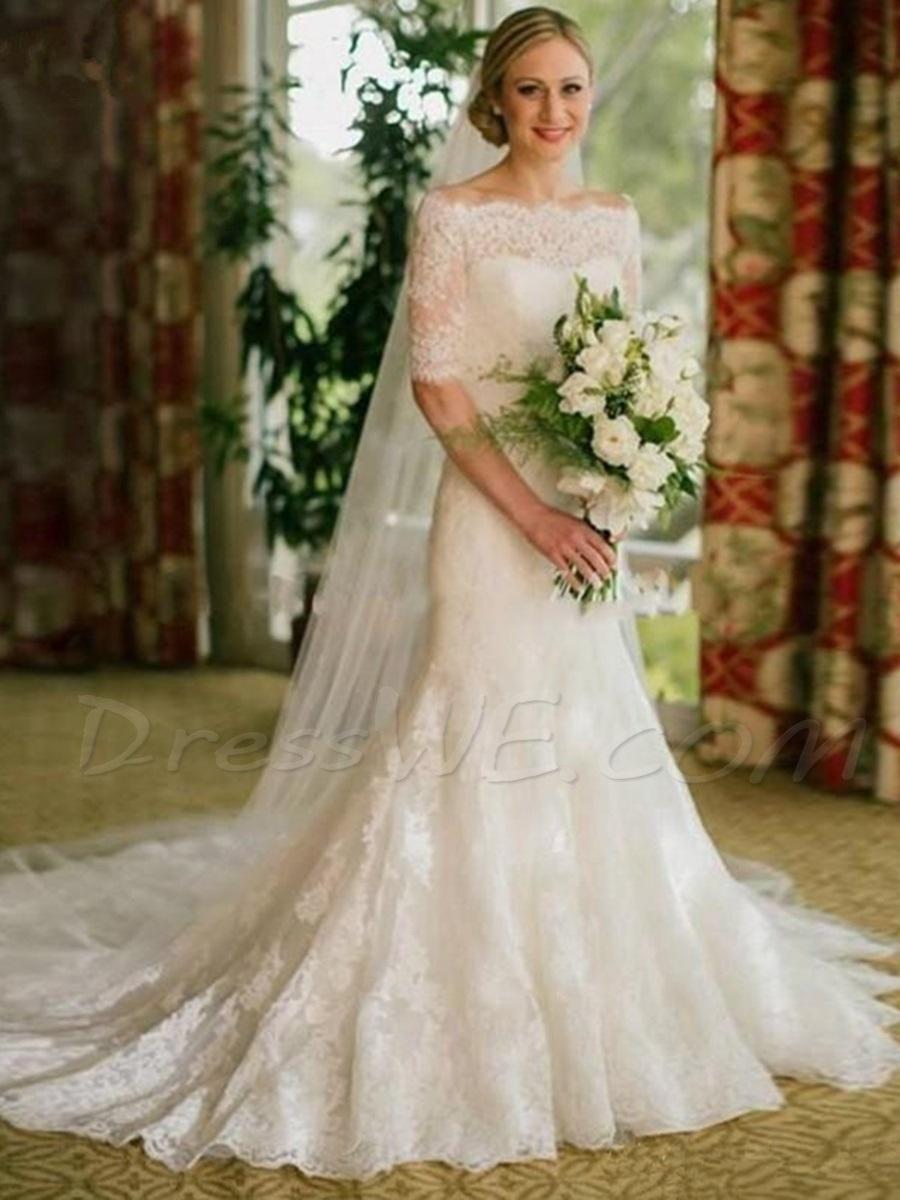 Mermaid lace wedding dress  DressWe  DressWe Off the Shoulder Half Sleeves Mermaid Lace