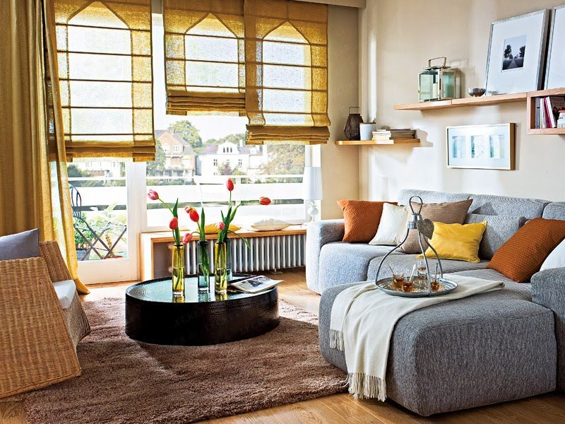 Roman shades that create an architectural effect on featureless windows. How cool is that!