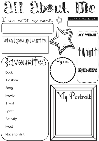 photograph regarding All About Me Printable Worksheet identified as Regarding Above Me Game Sheet  university All with regards to me