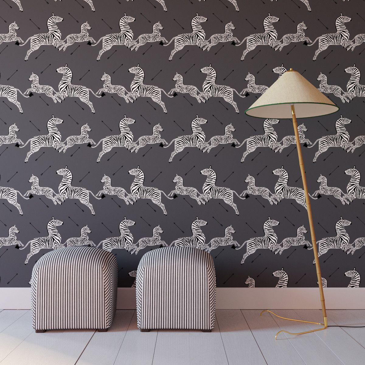 Slate Zebra Upholstered Custom Peel And Stick Wallpaper Roll In 2021 Zebra Wallpaper Wallpaper Roll Zebra Print Wallpaper