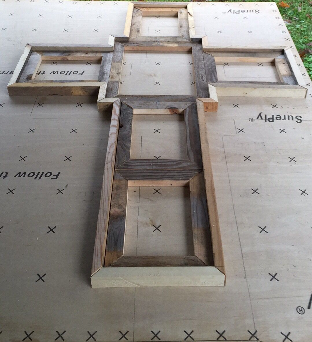 Reclaimed wood cross picture frame. Has 1- 8x10 5- 5x7, natural wood ...