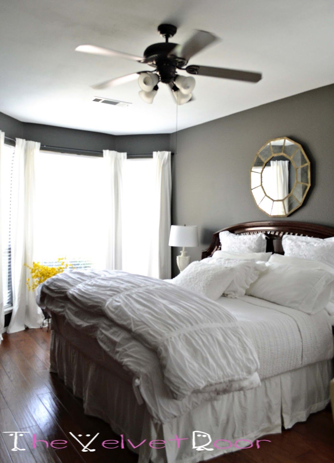 Master bedroom grey and white  Dark gray walls for the dining room perhaps  DecoArt
