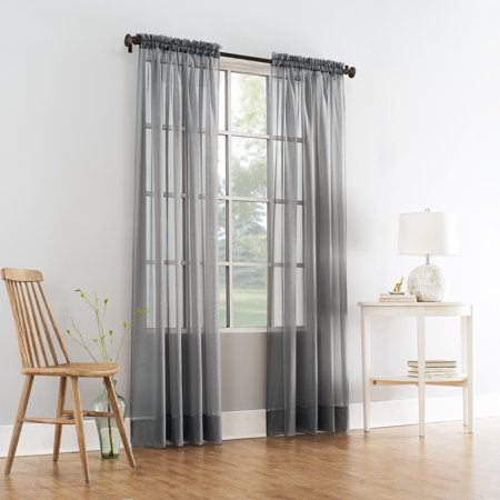 Mainstays Marjorie Sheer Voile Curtain Panel Gray In 2020 Panel