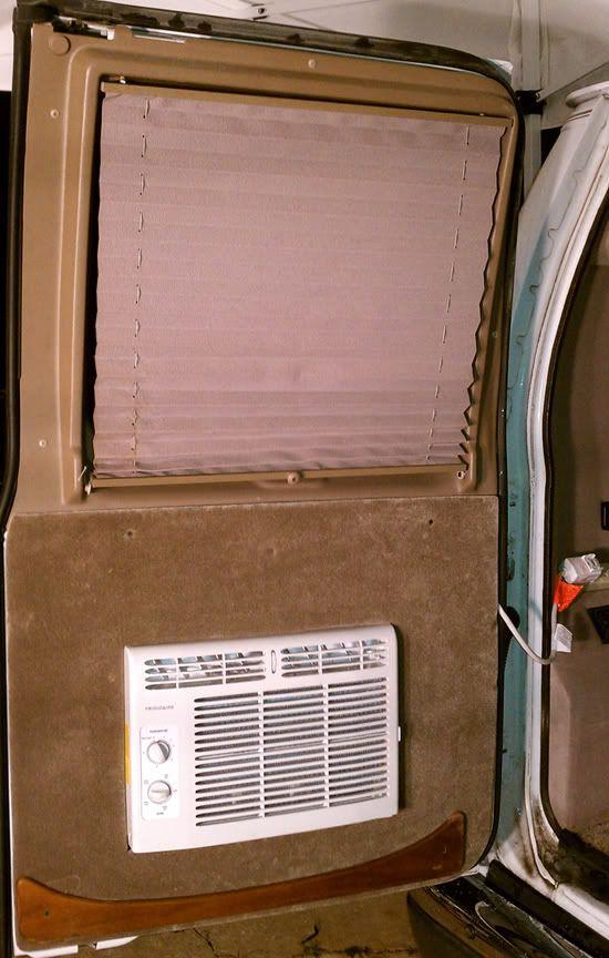 Diy A C Window Unit In Rear Van Door Window Unit Vintage Camper Remodel Camper Windows