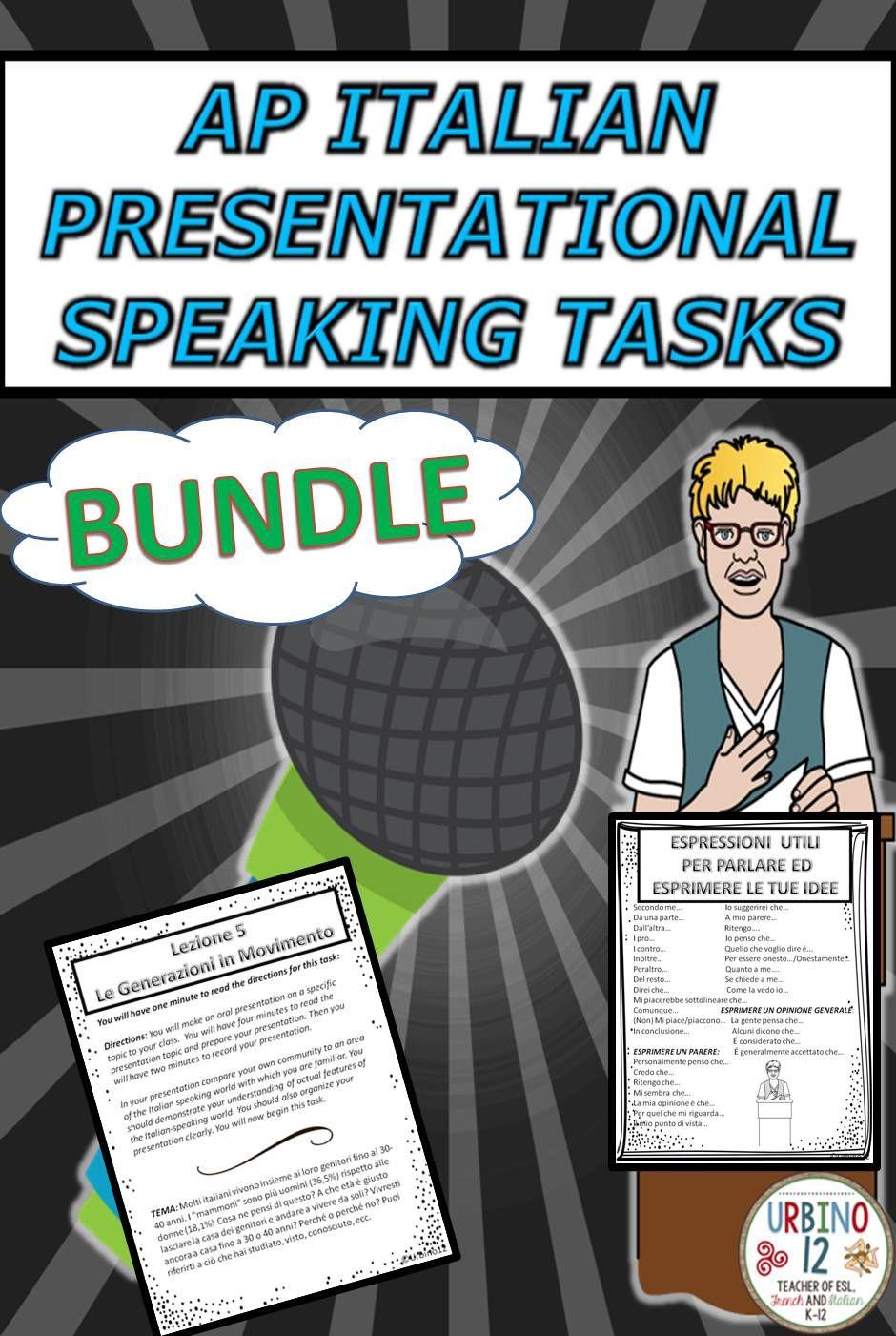 AP Italian Presentational Speaking Tasks BUNDLE | AP Italian and