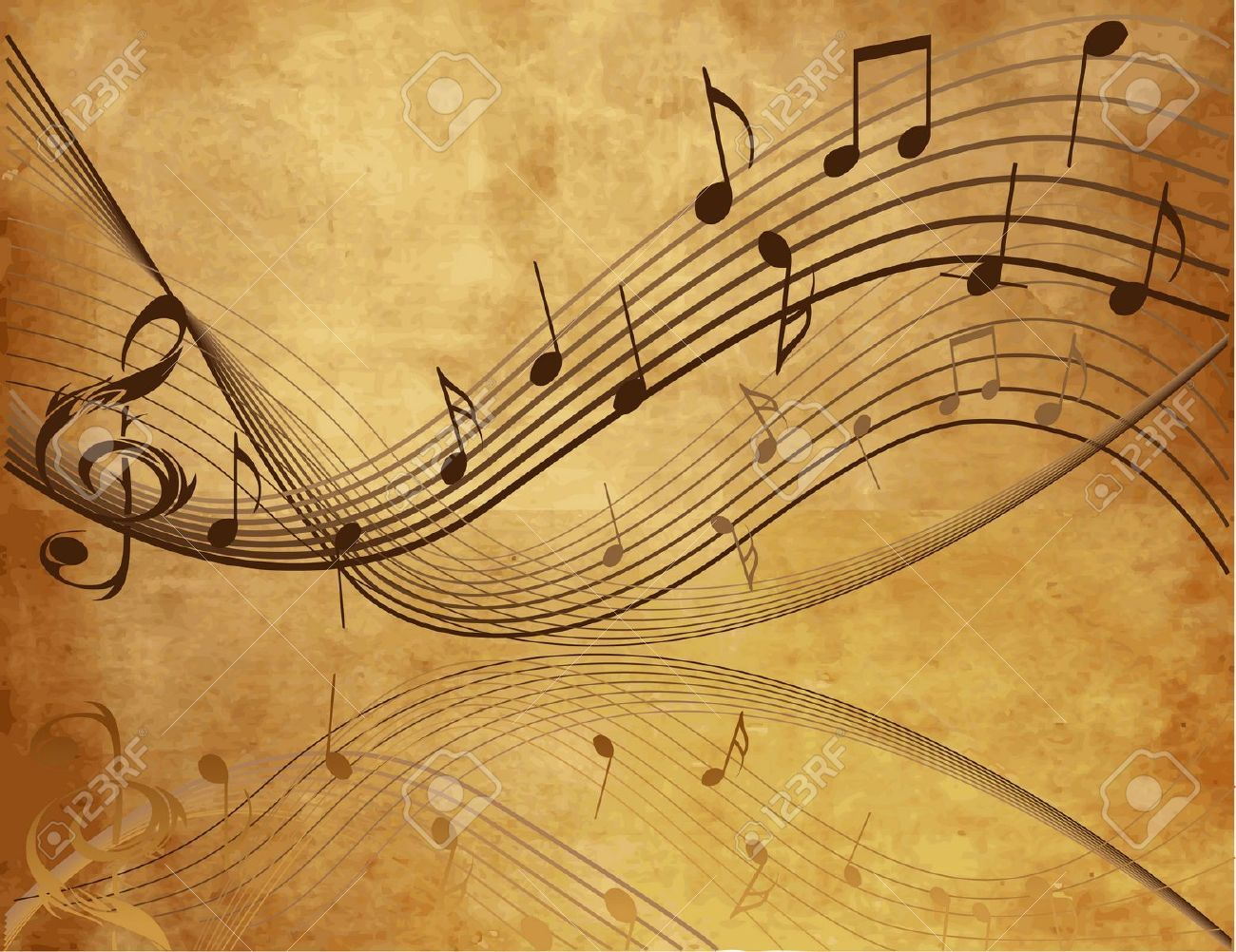 Vintage Background With Music Notes Royalty Free Cliparts, Vectors ...