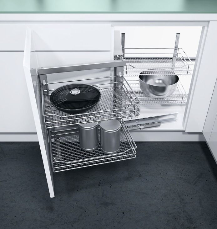 Swing Out Corner Storage Unit, Saphir Mesh Chrome Wire Baskets, Automatic Pull  Out Action, Vauth Sagel Wari Corner®   Häfele U.K. Shop