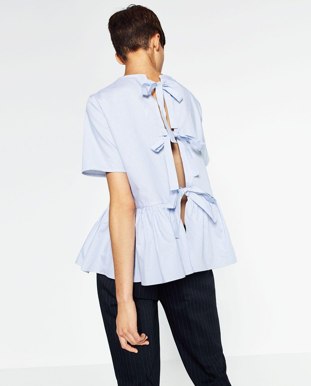 Image 2 de BLOUSE EN POPELINE À VOLANT de Zara