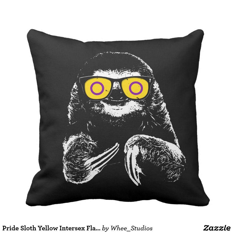 pride sloth yellow intersex flag sunglasses throw pillow sloth 3