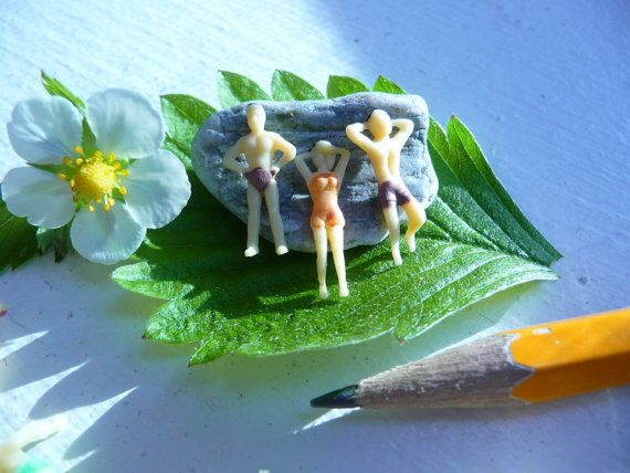 5 Tiny Miniature Plastic Swimming People by AddictedToResin