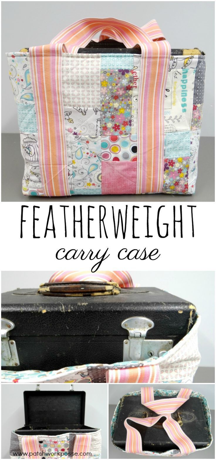 Featherweight carry case tutorial. Sew up a cute case with straps to store and travel with your machine. Simple to do and works great!