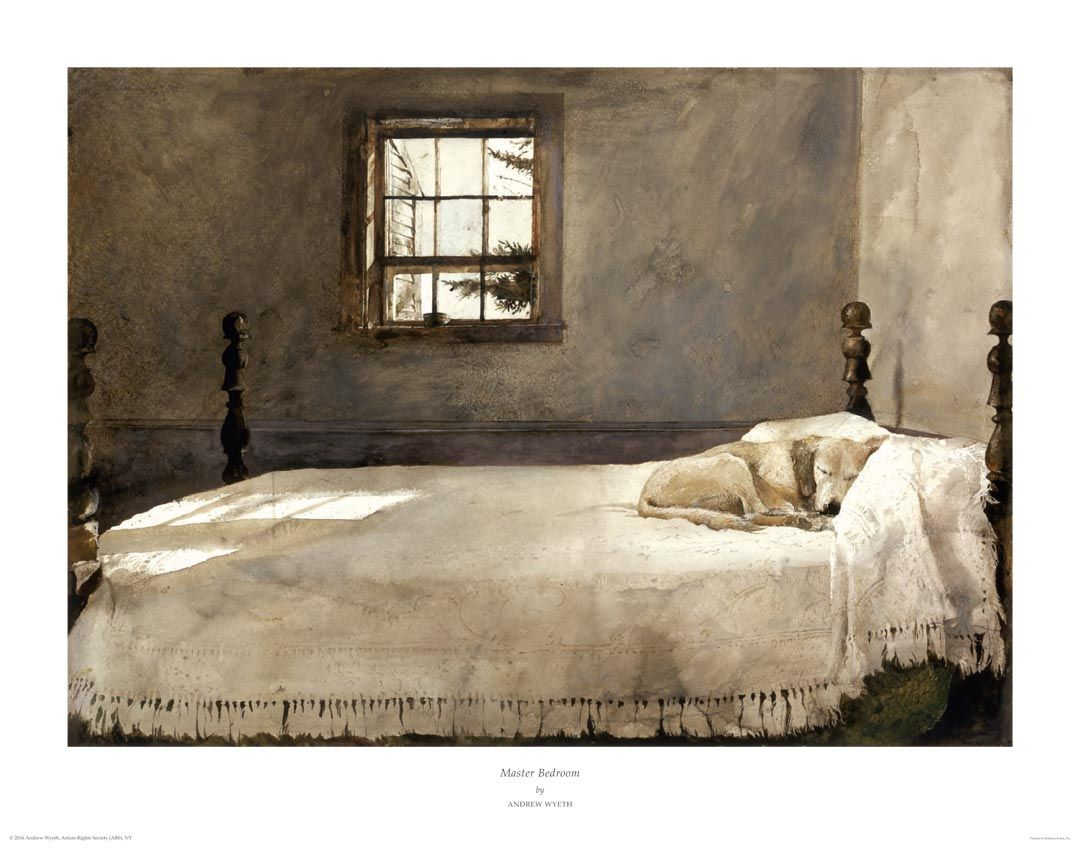 This fine art archival pigment print is a high quality reproduction of Wyeth's 1965 original watercolor, Master Bedroom. In this serene scene, Wyeth family dog, Rattler, peacefully naps on Andrew Wyeth's bed. Master Bedroom has become one of Wyeth's most popular works, and is recognizable by collectors all over the world.