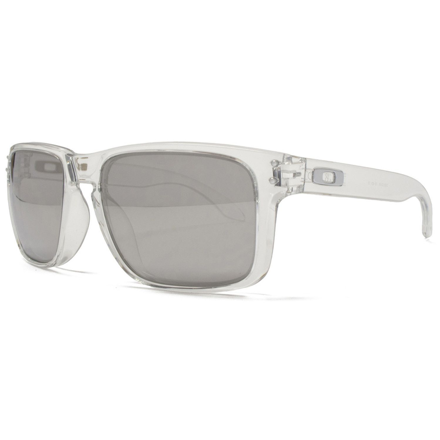 Oakley Holbrook Sunglasses Clear Frame Chrome Iridium Mirrored ...