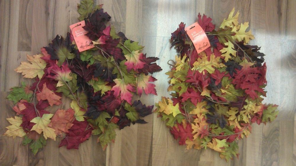 6ft Fall Autumn Leaves Leaf Garland Seasonal Decor Maple or Oak Decoration
