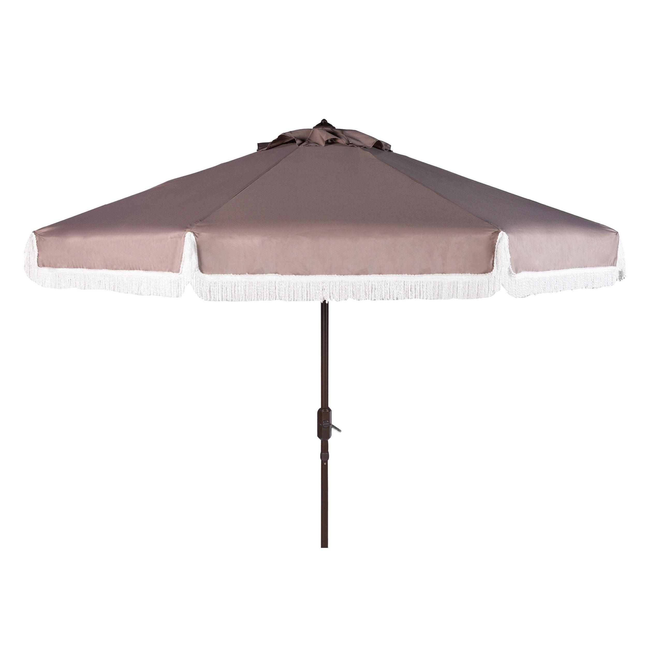 Safavieh Milan Fringe 9 Ft Crank Grey White Outdoor Umbrella