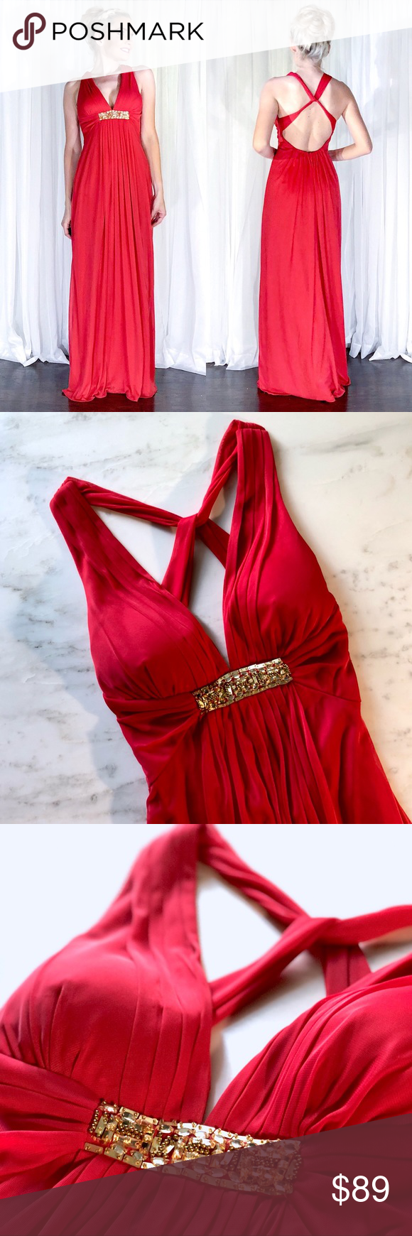 Xscape red open back formal homecoming prom dress in my posh