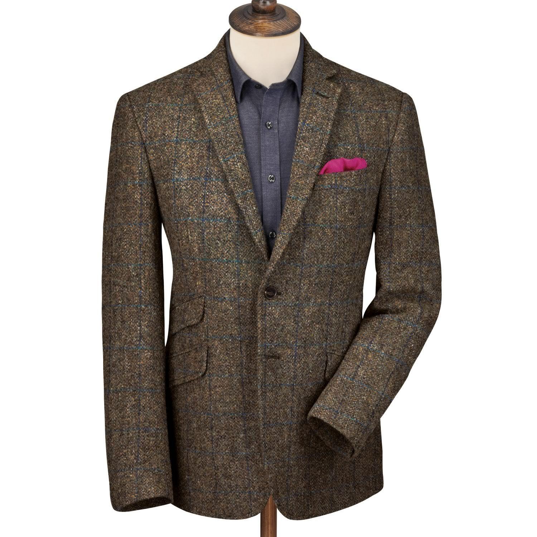 Olive windowpane Harris tweed slim fit jacket Men's