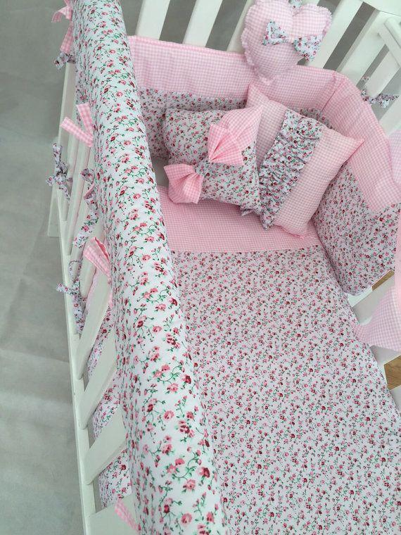 Girls Cot Bedding Sets, Pink Gingham Baby Bedding