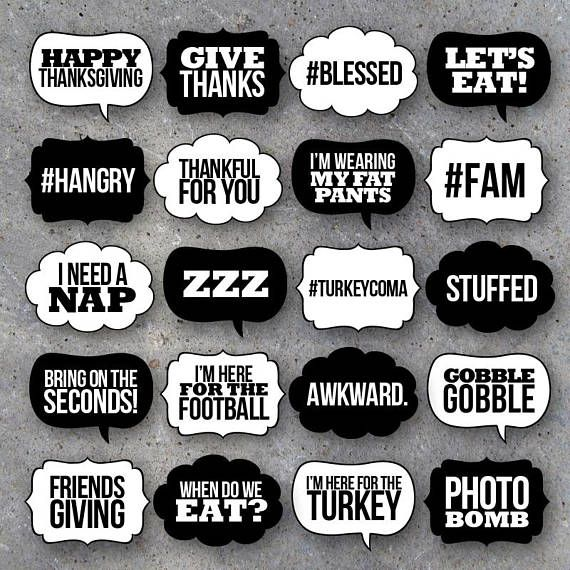 photo booth speech bubble template - thanksgiving talk bubbles photo booth props collection
