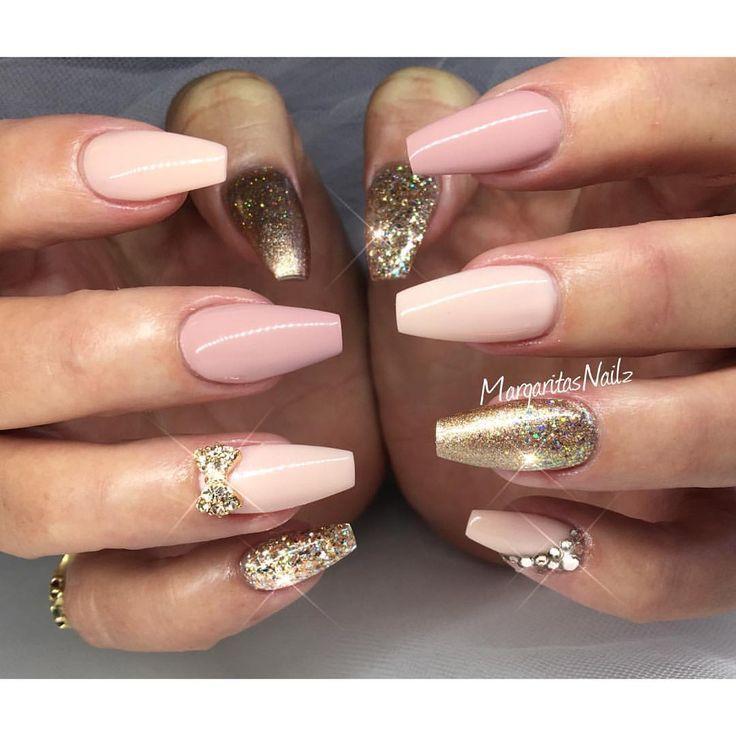Nude and rose gold coffin nails ✨✨ spring/summer 2016 nail art Nail Design,  Nail Art, Nail Salon, Irvine, Newport Beach - Nude And Rose Gold Coffin Nails ✨✨ Spring/summer 2016 Nail Art