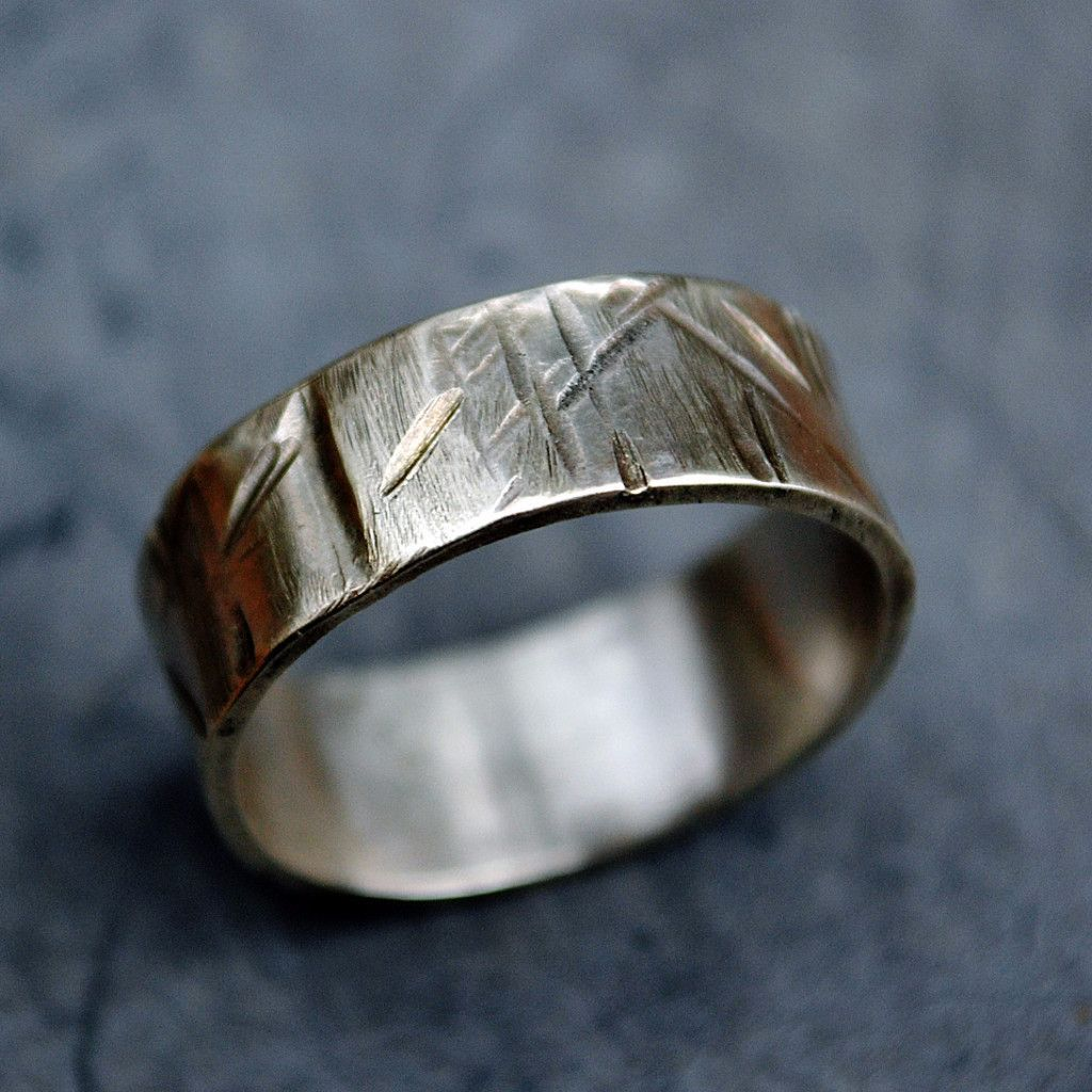 Custom Sterling Silver Ring- Unisex, Scratches Slashes Grooves ...