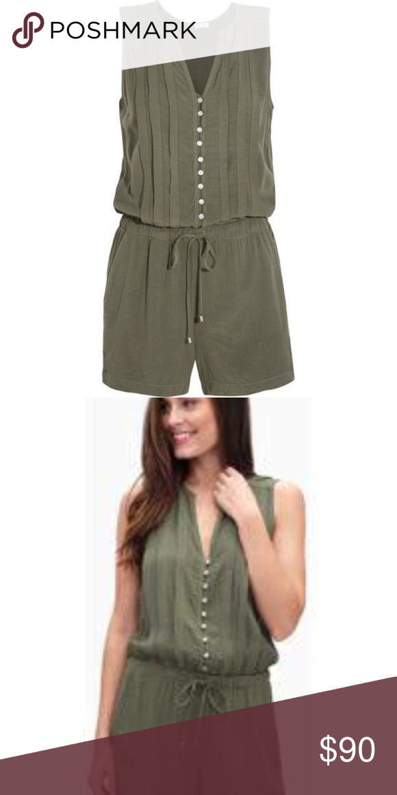 f269357b3cc2 Splendid Women s Rayon Voile Pleated Romper brand new 100% rayon military  love color Side pockets
