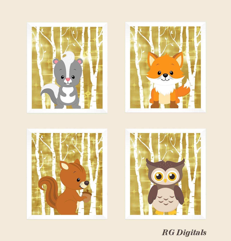 SALE - Woodland Animals Digital Print - Gold Foil - Animal Prints ...